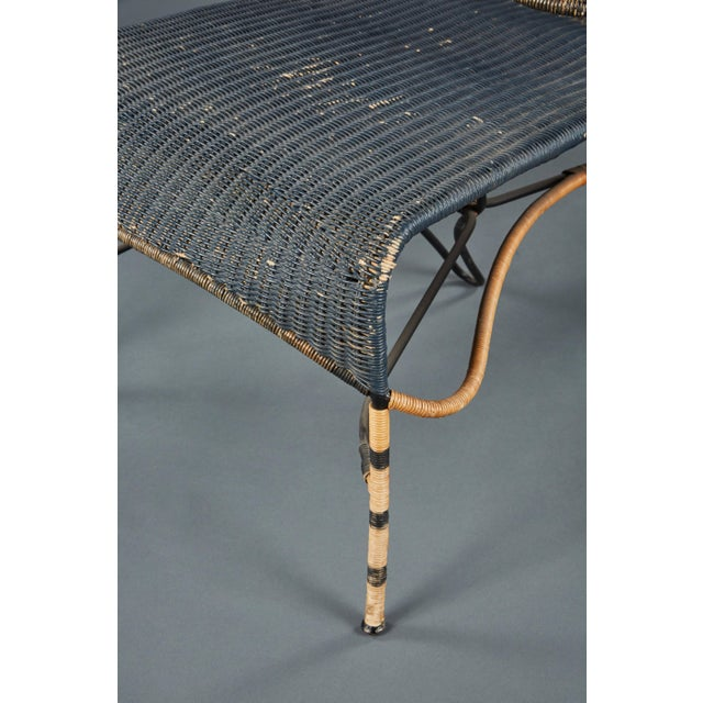 Wicker Sculptural Italian Black and Natural Wicker Chair Over a Steel Frame For Sale - Image 7 of 8