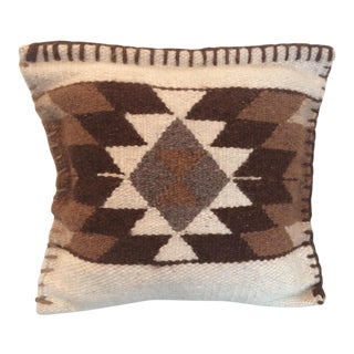 1960s Vintage Geometric Brown Flat Weave Pillow For Sale