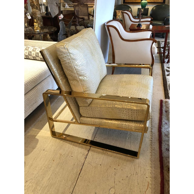Metallic Faux Crocodile and Brass Club Chair For Sale - Image 10 of 13