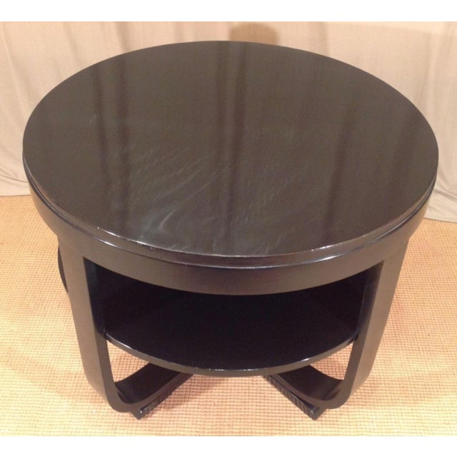Black Lacquered Round Art Deco Table For Sale In New Orleans - Image 6 of 7