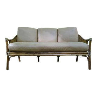 Vintage McGuire of San Francisco Organic Modern Rattan & Leather Sofa