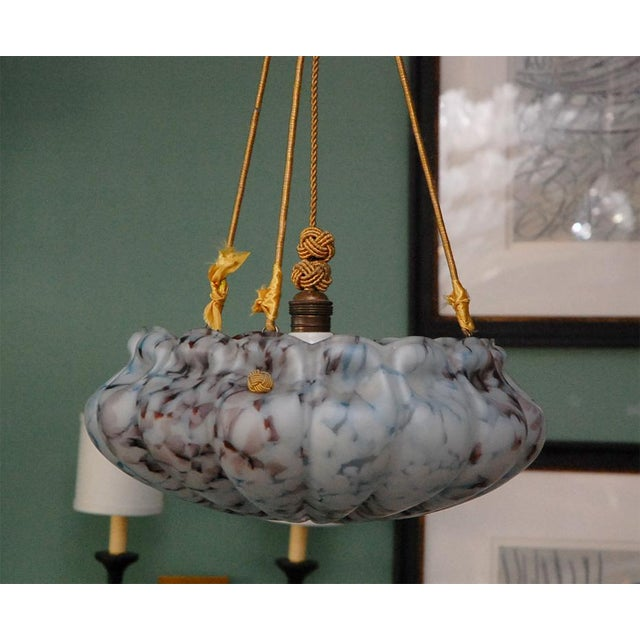 Italian European Glass Bowl Pendant Fixture For Sale - Image 3 of 9