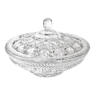 Vintage Federal Glass Windsor Candy Dish With Lid For Sale