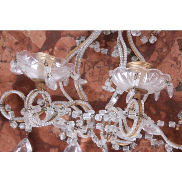 Pair of Antique Italian Baroque Wall Sconces in Crystal, Brass, and Gilt Metal For Sale - Image 4 of 13
