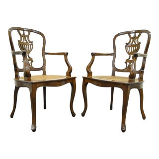 Vintage Mid Century Hand-Carved Italian Venetian Cane Seat Arm Chairs- A Pair For Sale