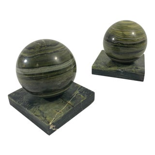 Postmodern Pair of Green Marble Sphere Bookends For Sale