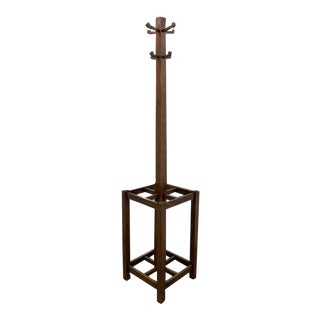 Early 20th Century All Wood Arts & Crafts- Mission Style Free Standing Coat, Hat, Umbrella Stand For Sale