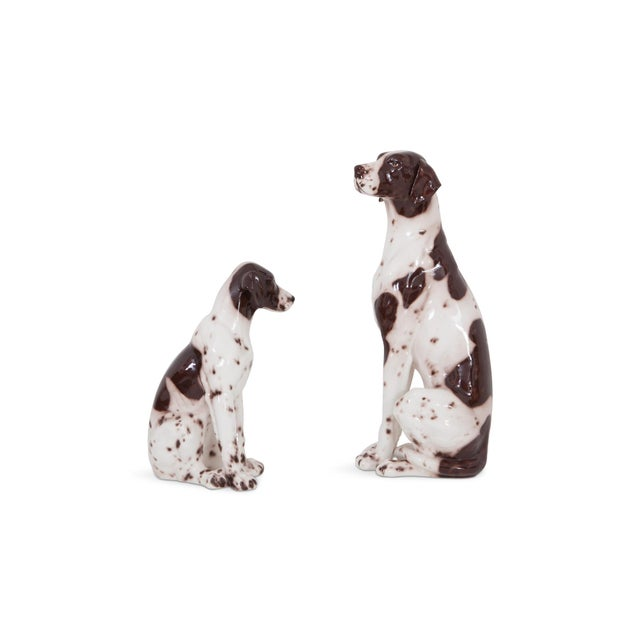 Hollywood Regency Ceramic 20th Century Pointer Dog Sculptures Madonna & Child For Sale - Image 3 of 12