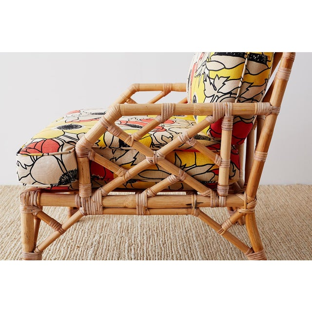 Brown Jordan Brown Jordan Chinese Chippendale Rattan Bamboo Lounge Chairs For Sale - Image 4 of 13