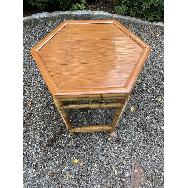 Camel Vintage Bamboo Octagonal Side Table For Sale - Image 8 of 9