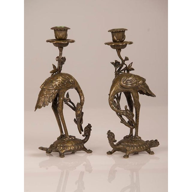 Art Nouveau Bronze Crane on Turtle Pair Candlesticks, France c.1840 For Sale - Image 3 of 11