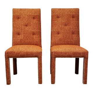 Pair of Mid Century Dorothy Draper Style Upholstered Chairs For Sale