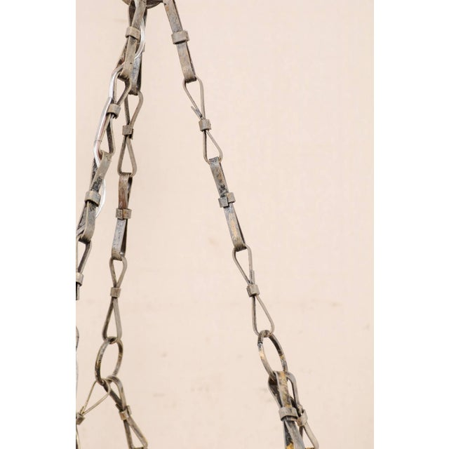 French Midcentury Six-Light Iron Chandelier With Lovely Scrolling Pattern For Sale In Atlanta - Image 6 of 11