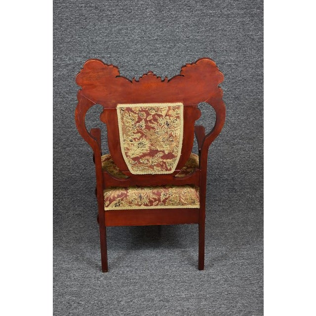 Antique Old World Ornately Carved Shield Back Arm Chair Burgundy Floral Tapestry For Sale - Image 6 of 13
