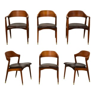 Chestnut MCM Dining Chairs- Set of 6 For Sale