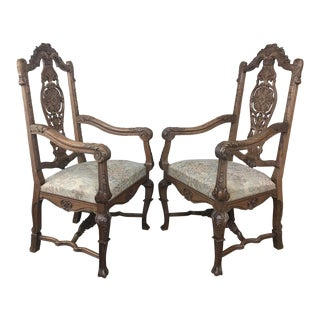 Pair 19th Century Liegoise Louis XIV Armchairs For Sale