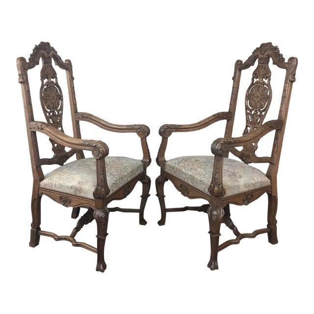 Pair 19th Century Liegoise Louis XIV Armchairs For Sale