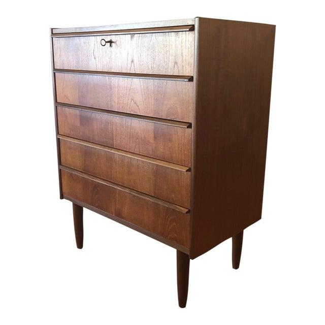 1960s Mid-Century Modern Handbjerg Mobelfabrik Teak Dresser With Key For Sale
