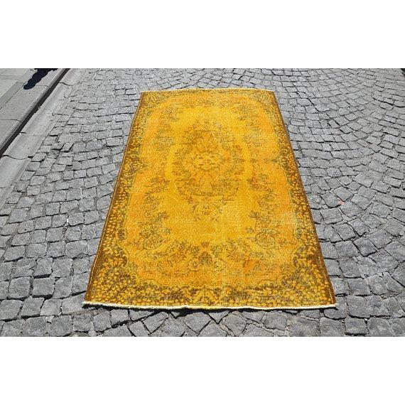"""Yellow Turkish Rug -- 3'11"""" X 6'9"""" - Image 2 of 6"""