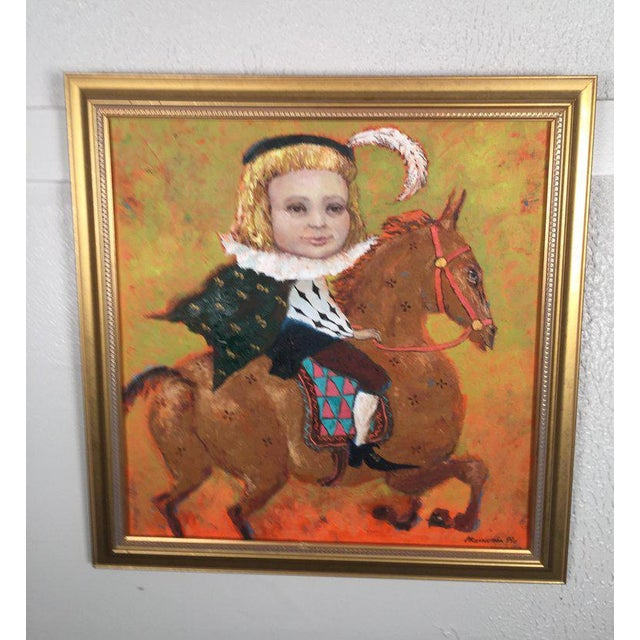 1990s 1990s Vintage Russian Whimsical Paintings by Elena Kallistova- A Pair For Sale - Image 5 of 13