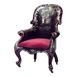 English Victorian Lacquered Bergére Arm Chair For Sale