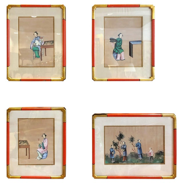 Gold '4' Chinese Export Paintings on Silk - Set of 4 For Sale - Image 8 of 8