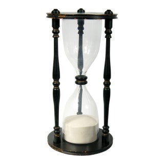 Grand Black Wooden Hour Glass