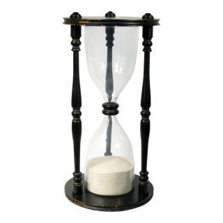 Vintage Large Black Wooden Hour Glass