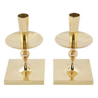 Pair of Tommi Parzinger Brass Candle Holders With Square Bases, Circa 1950s