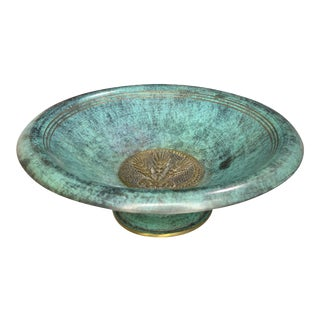 Vintage Israel Green Verdigris Enamel Footed Tazza Bowl Judaica Dish For Sale