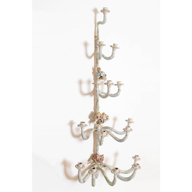 Pink Pair of Italian Painted Carved Wood Sconces For Sale - Image 8 of 13