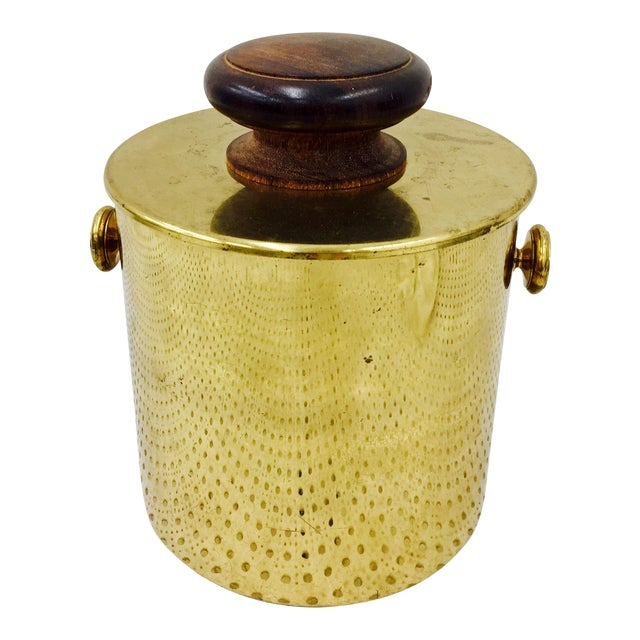 Vintage Italian Brass & Wood Ice Bucket - Image 1 of 5