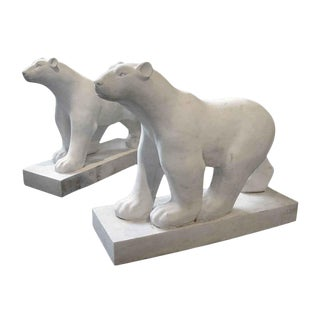 Art Deco Style White Marble Carved Polar Bears - A Pair For Sale