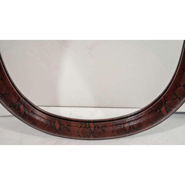 Mid-Century Modern Burgundy Leather Mirror With Embossed Print For Sale In New York - Image 6 of 11