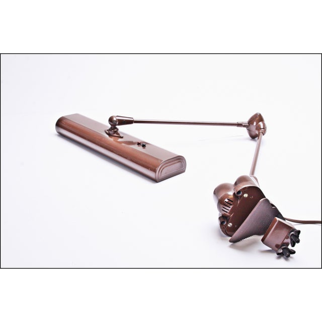 Vintage Industrial Brown Clamp On Articulating Desk Lamp - Image 7 of 11