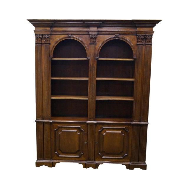 Large Italian Walnut Architectural Bookcase w/ Corinthian Columns For Sale