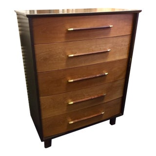 Vintage Heritage Henredon Mid-Century Walnut and Brass Dresser For Sale