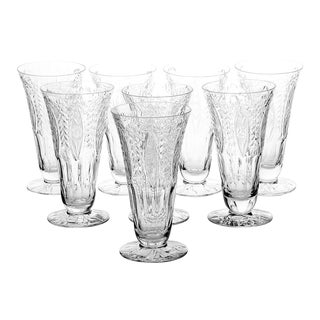Cut Crystal Footed Parfait Set of 8 For Sale