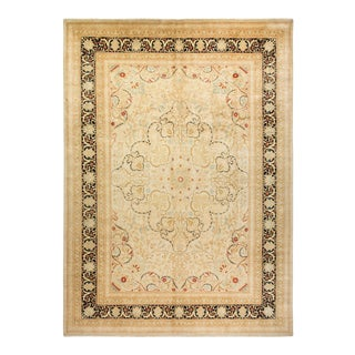 """Mogul, One-Of-A-Kind Hand-Knotted Area Rug - Ivory, 10' 2"""" X 14' 2"""" For Sale"""