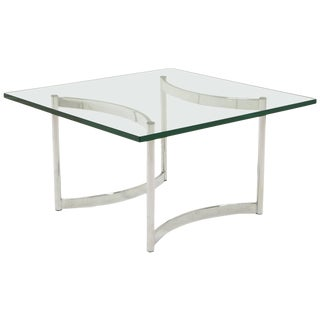 Square Glass and Chrome Coffee Table For Sale