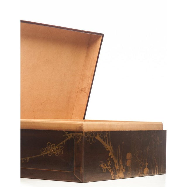 """Wood Lawrence & Scott Mahogany Meridian Leather Box ( 16.5"""") For Sale - Image 7 of 7"""