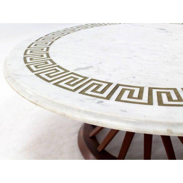 Luxury MidCentury Modern Oiled Walnut Base And MarbleTop Coffee - Walnut and marble coffee table