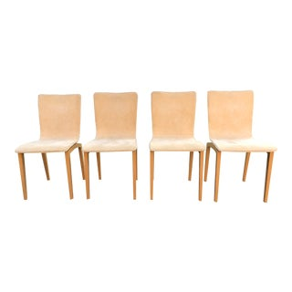 1990s Vintage Ligne Roset Suede Dining Chairs - Set of 4 For Sale
