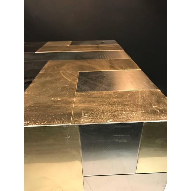 UNUSUAL CUBE-SHAPED BRASS AND CHROME PATCHWORK TABLE BY PAUL EVANS For Sale In Philadelphia - Image 6 of 9