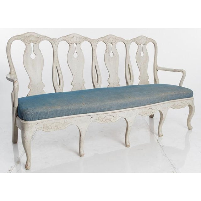 Gustavian (Swedish) SWEDISH ROCOCO BENCH For Sale - Image 3 of 4