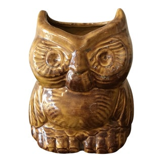 Vintage California Pottery Owl Planter For Sale