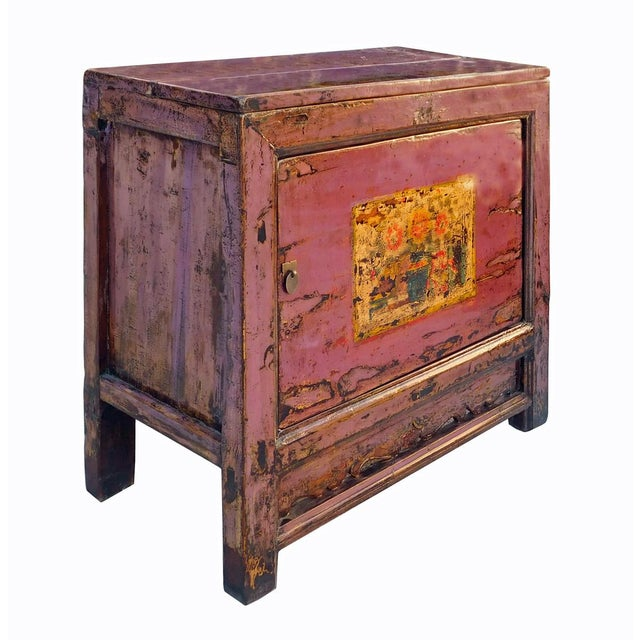 Chinese Floral Cabinet in Rustic Purple - Image 2 of 6