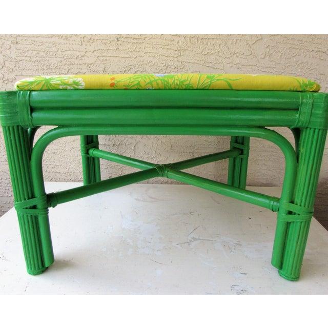 Mid-Century Green Rattan Footstool - Image 8 of 8