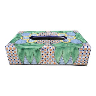 20th Century Folk Art Mexican Talavera Pottery Hand Painted Tissue Box Cover For Sale