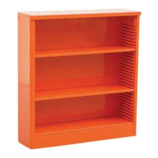 1960s Steel Tanker Style Bookcase in Orange, Custom Refinished For Sale